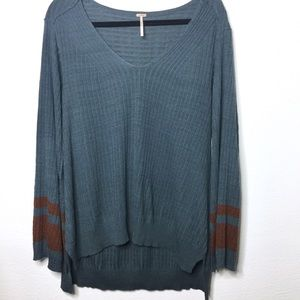 Free People V-Neck Ribbed Bell Sleeve Sweater